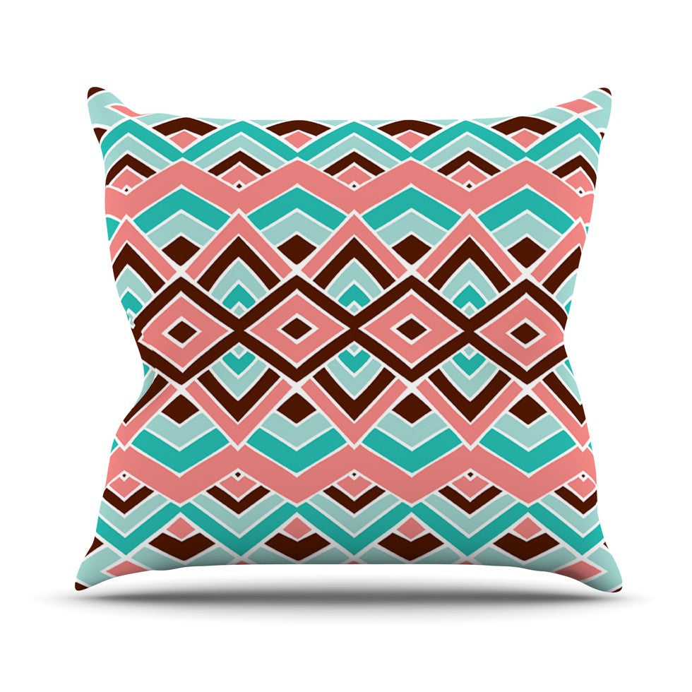 "Pom Graphic Design ""Eclectic"" Peach Teal Throw Pillow - KESS InHouse  - 1"
