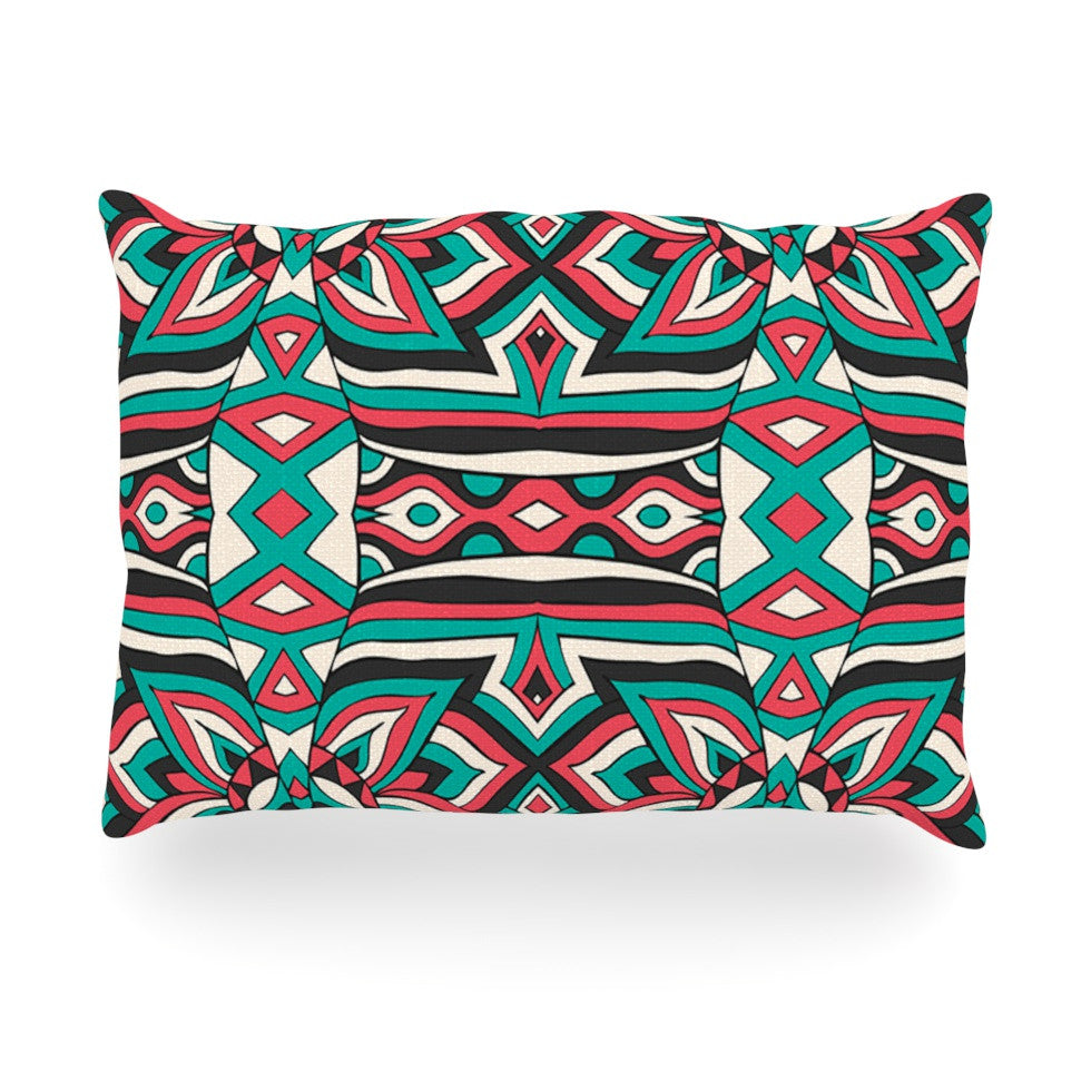 "Pom Graphic Design ""Ethnic Floral Mosaic"" Teal Red Oblong Pillow - KESS InHouse"