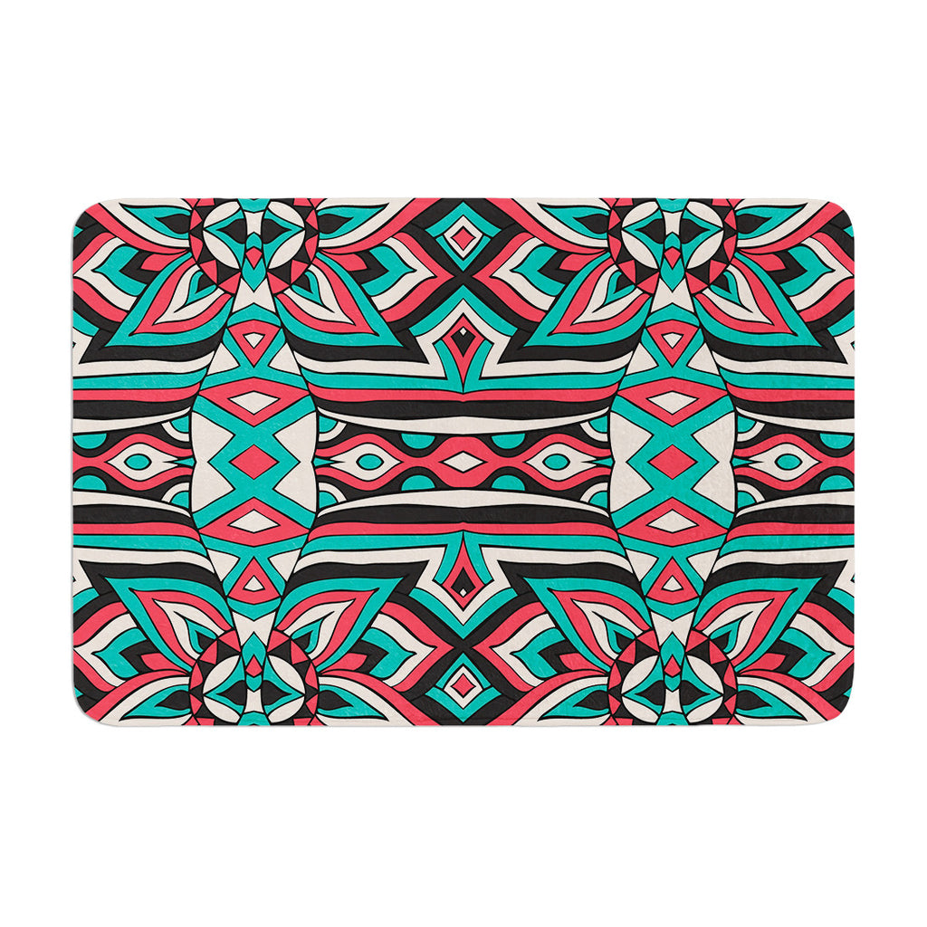 "Pom Graphic Design ""Ethnic Floral Mosaic"" Teal Red Memory Foam Bath Mat - KESS InHouse"