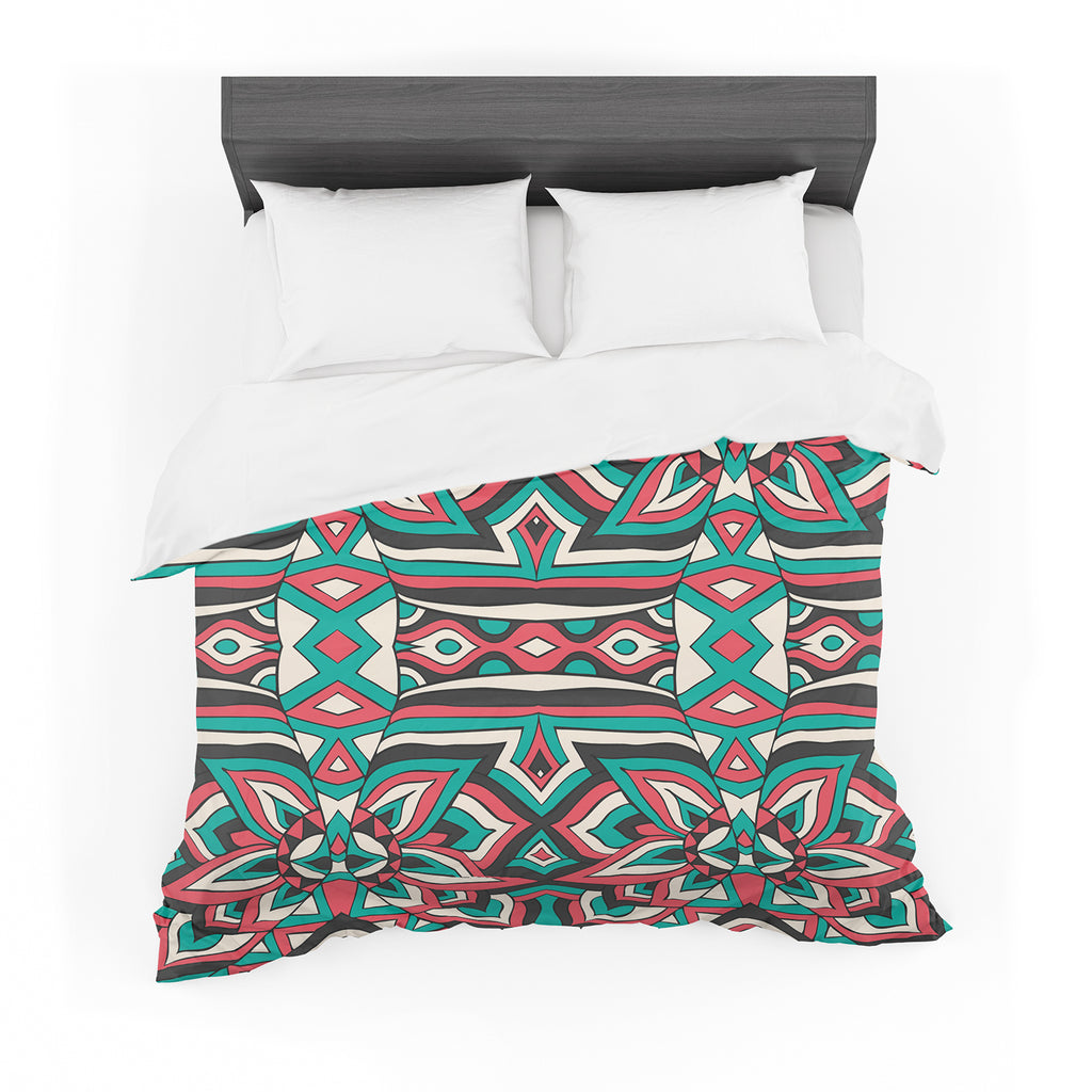 "Pom Graphic Design ""Ethnic Floral Mosaic"" Teal Red Cotton Duvet"