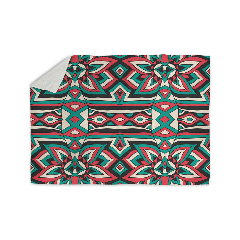"Pom Graphic Design ""Ethnic Floral Mosaic"" Teal Red Sherpa Blanket - KESS InHouse  - 1"