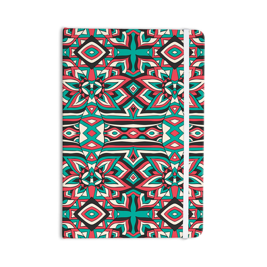 "Pom Graphic Design ""Ethnic Floral Mosaic"" Teal Red Everything Notebook - KESS InHouse  - 1"
