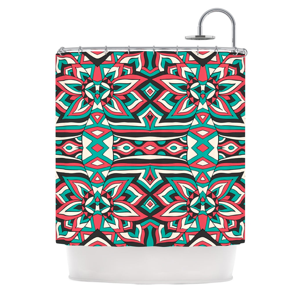 "Pom Graphic Design ""Ethnic Floral Mosaic"" Teal Red Shower Curtain - KESS InHouse"