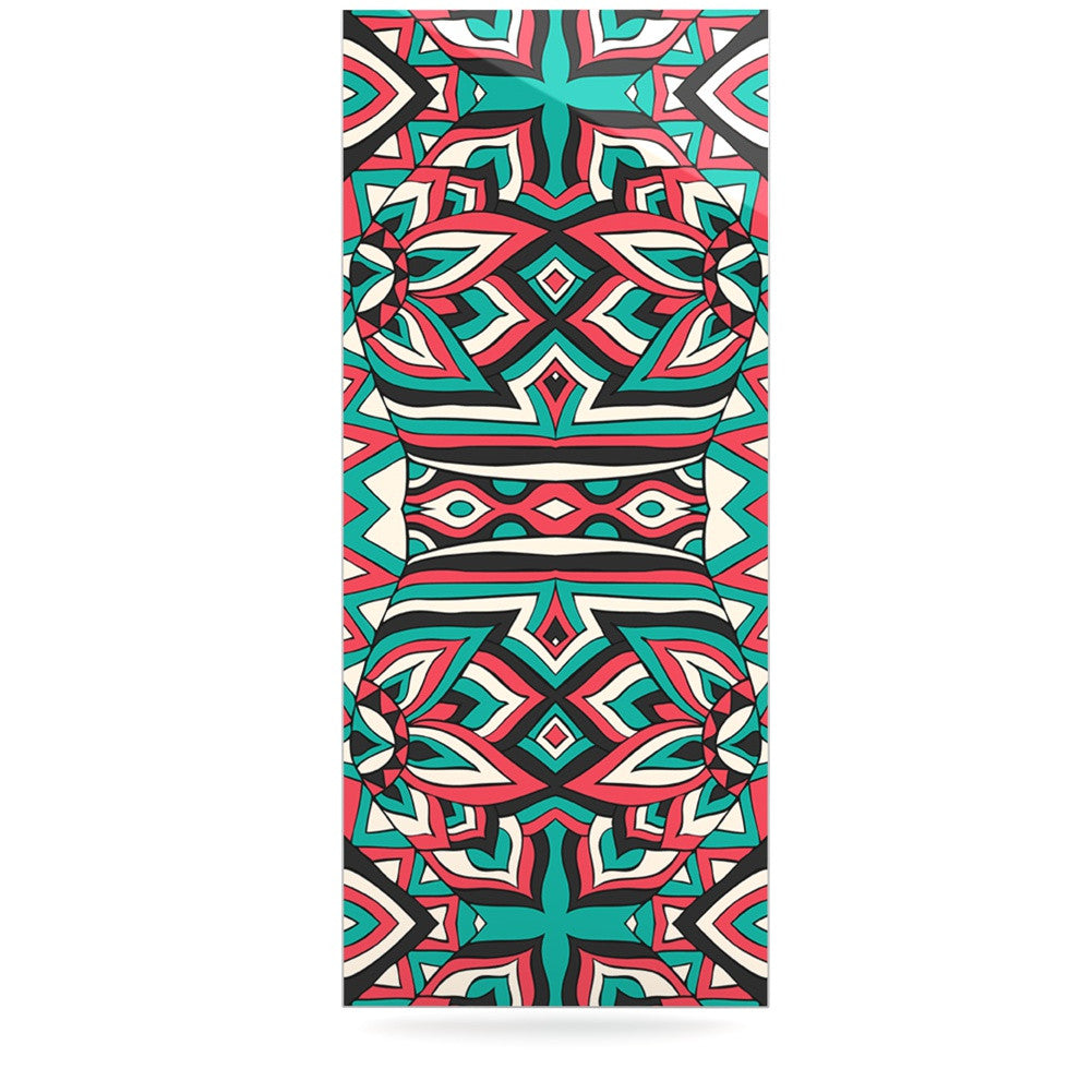 "Pom Graphic Design ""Ethnic Floral Mosaic"" Teal Red Luxe Rectangle Panel - KESS InHouse  - 1"