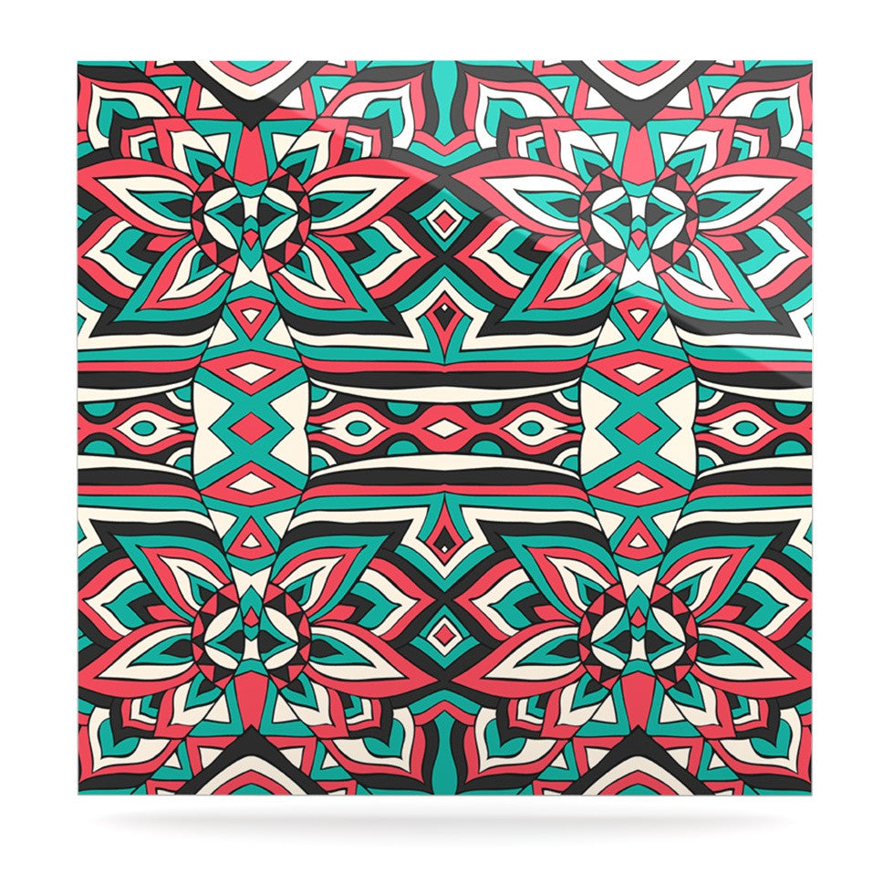 "Pom Graphic Design ""Ethnic Floral Mosaic"" Teal Red Luxe Square Panel - KESS InHouse  - 1"
