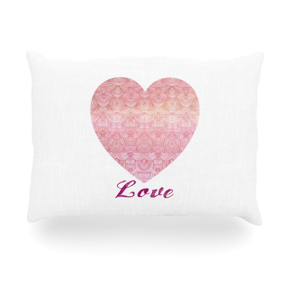 "Pom Graphic Design ""Love"" Pink White Oblong Pillow - KESS InHouse"
