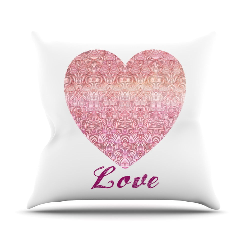"Pom Graphic Design ""Love"" Pink White Throw Pillow - KESS InHouse  - 1"
