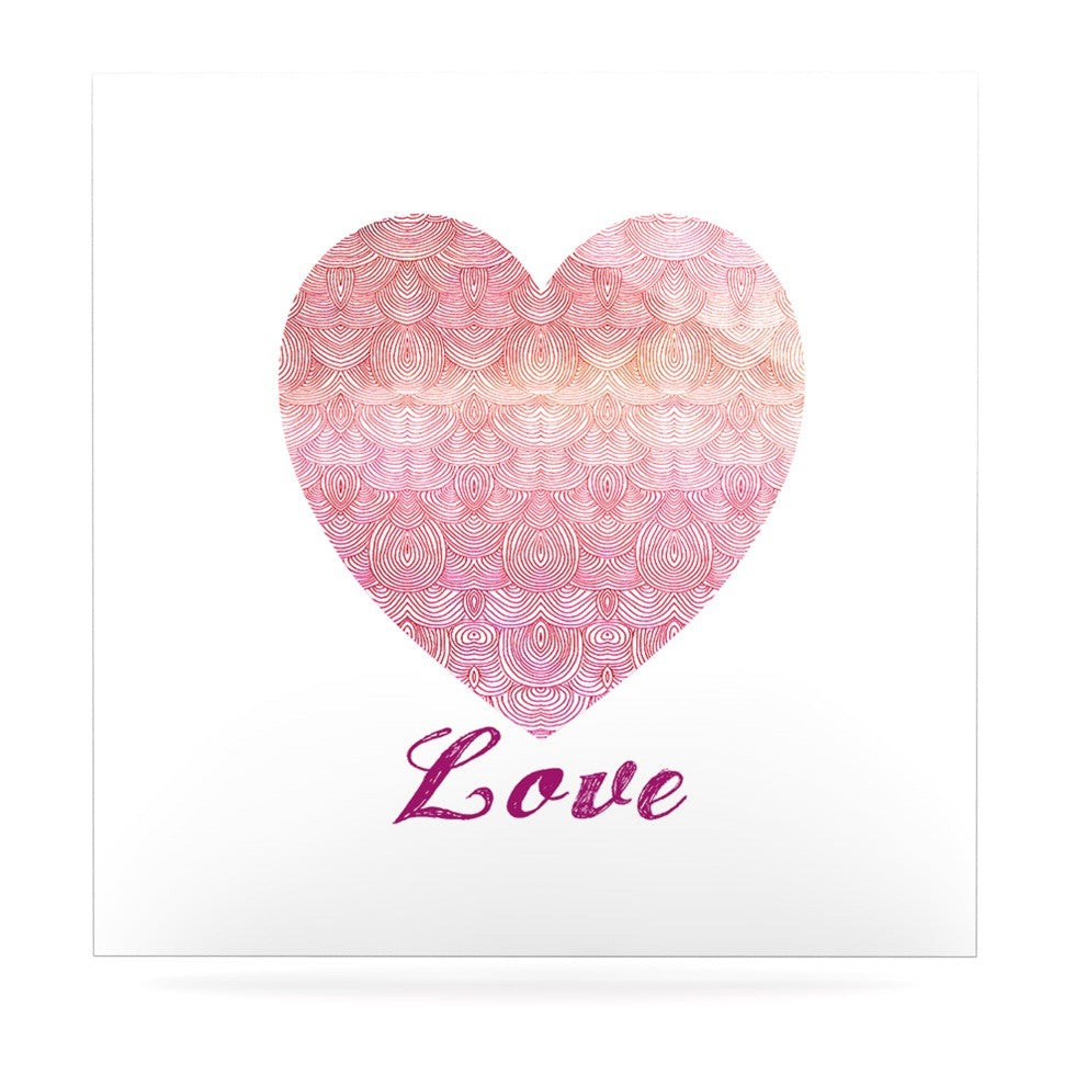 "Pom Graphic Design ""Love"" Pink White Luxe Square Panel - KESS InHouse  - 1"