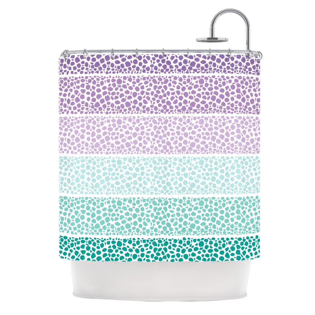 Pom Graphic Design Riverside Pebbles Colored Purple Teal Shower Curtain