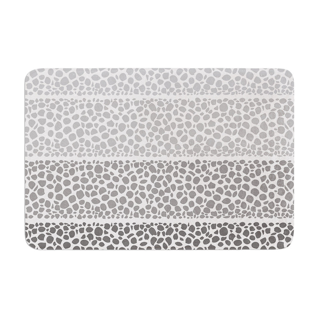 "Pom Graphic Design ""Riverside Pebbles"" Gray White Memory Foam Bath Mat - KESS InHouse"