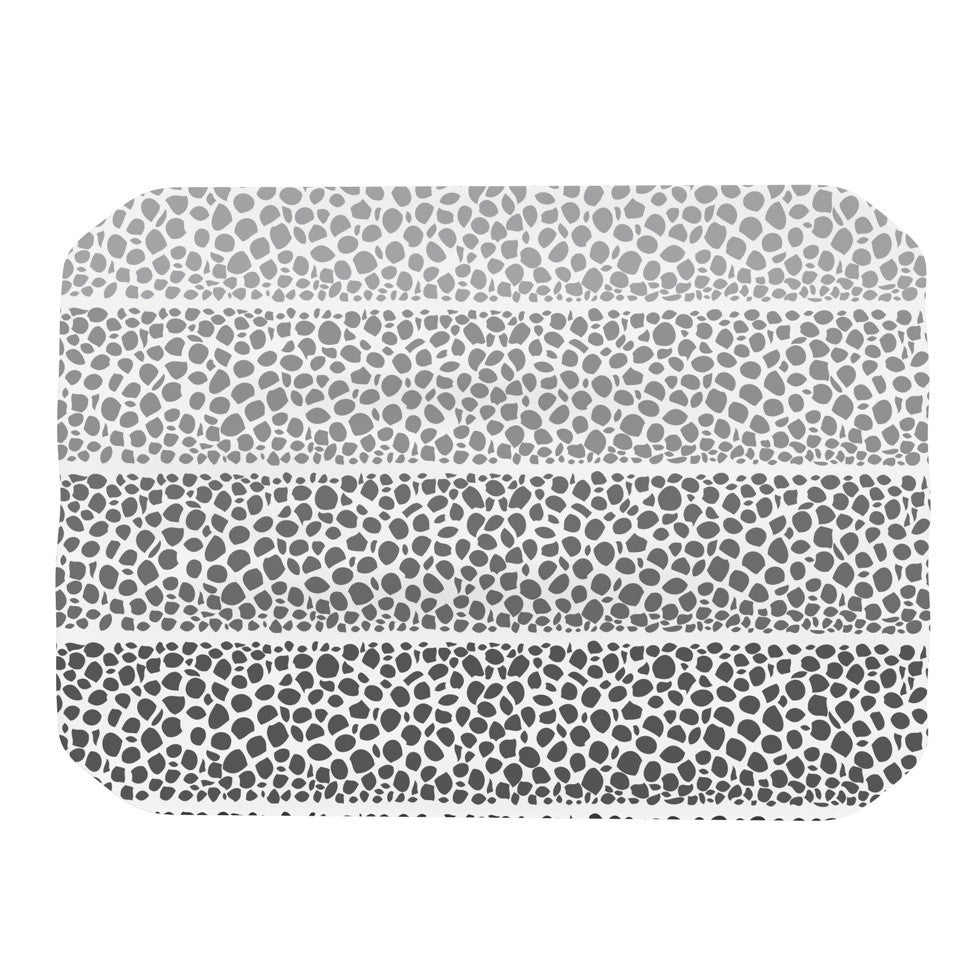 "Pom Graphic Design ""Riverside Pebbles"" Gray White Place Mat - KESS InHouse"