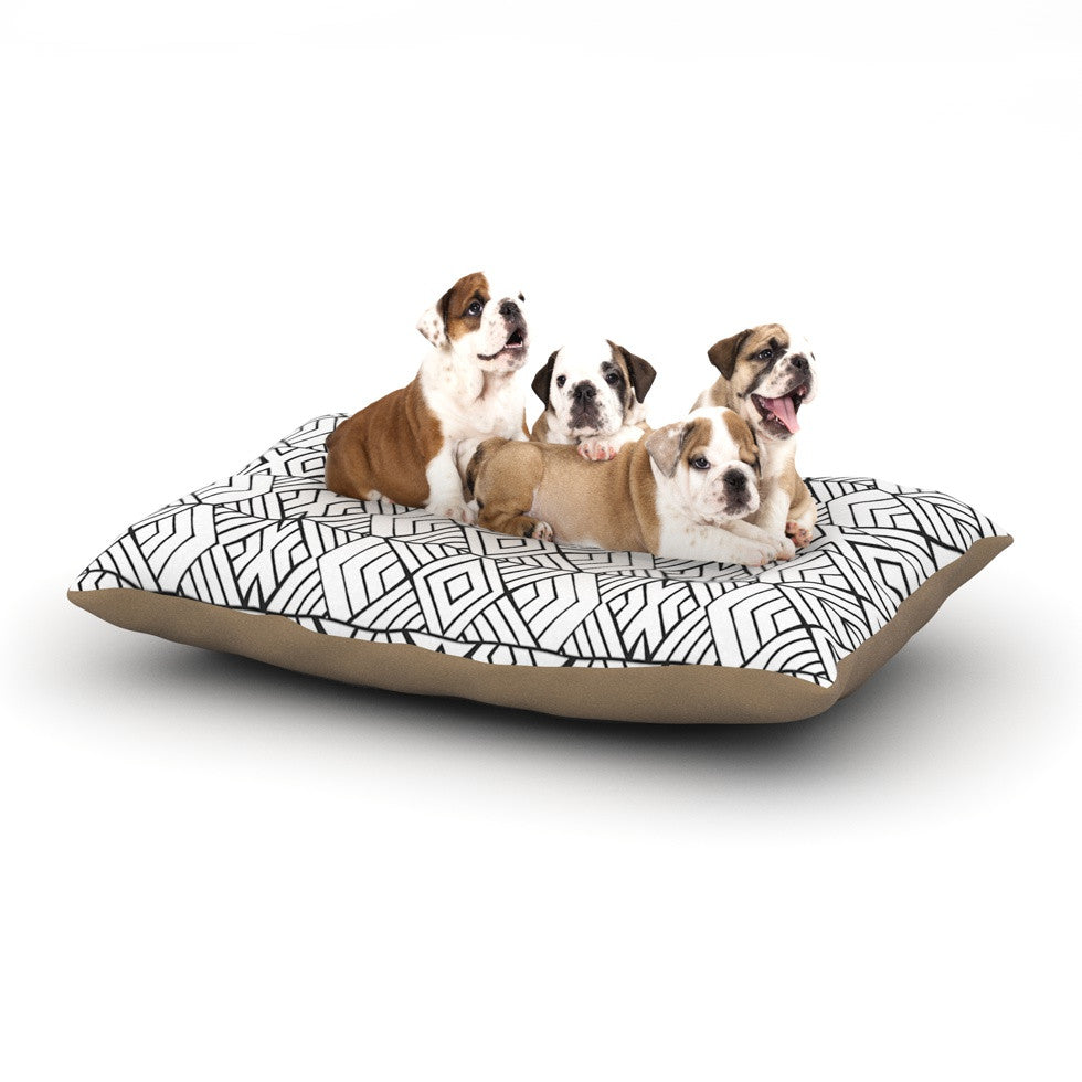 "Pom Graphic Design ""Tribal Expression"" Black White Dog Bed - KESS InHouse  - 1"