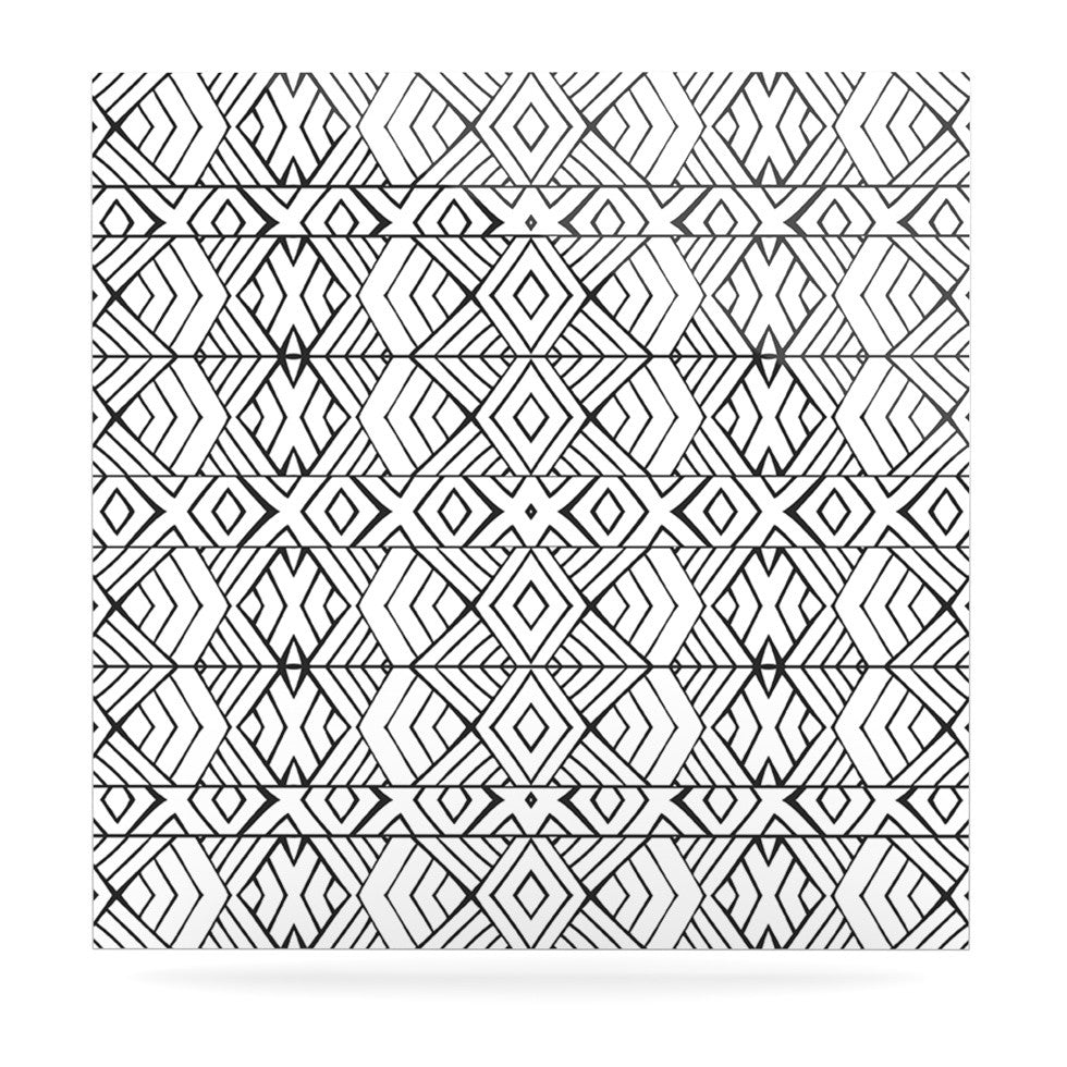 "Pom Graphic Design ""Tribal Expression"" Black White Luxe Square Panel - KESS InHouse  - 1"