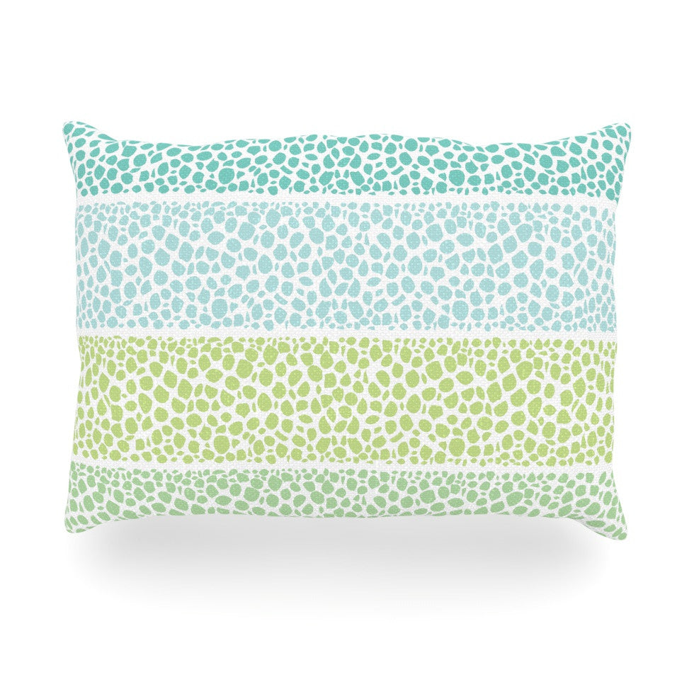 "Pom Graphic Design ""Zen Pebbles"" Green Teal Oblong Pillow - KESS InHouse"