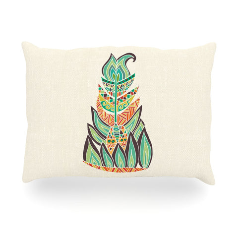 "Pom Graphic Design ""Tribal Feather"" Green Orange Oblong Pillow - KESS InHouse"