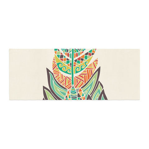 "Pom Graphic Design ""Tribal Feather"" Green Orange Bed Runner - KESS InHouse"