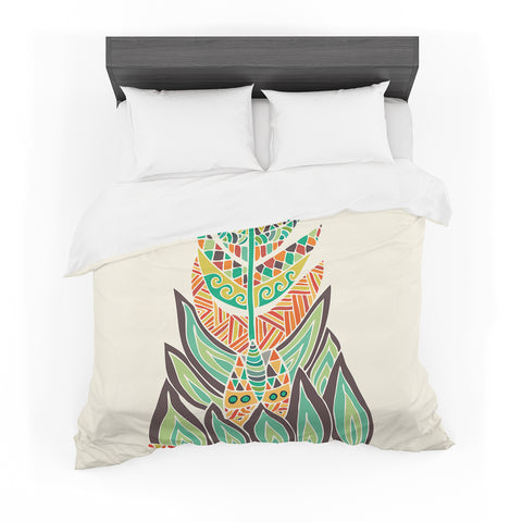 "Pom Graphic Design ""Tribal Feather"" Green Orange Cotton Duvet"