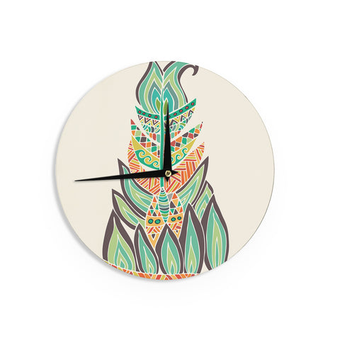 "Pom Graphic Design ""Tribal Feather"" Green Orange Wall Clock - KESS InHouse"