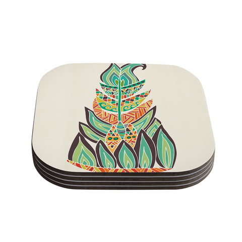 "Pom Graphic Design ""Tribal Feather"" Green Orange Coasters (Set of 4)"