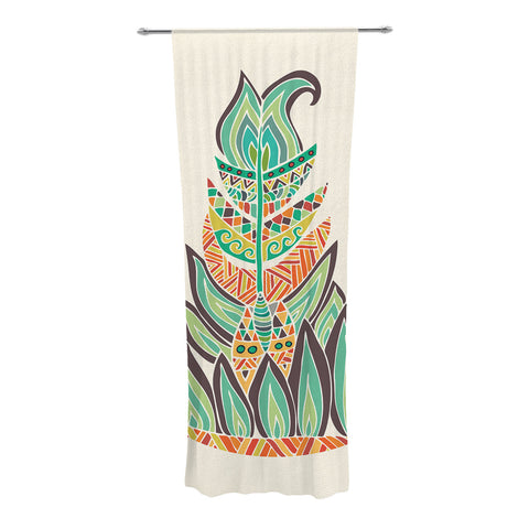 "Pom Graphic Design ""Tribal Feather"" Green Orange Decorative Sheer Curtains - KESS InHouse"