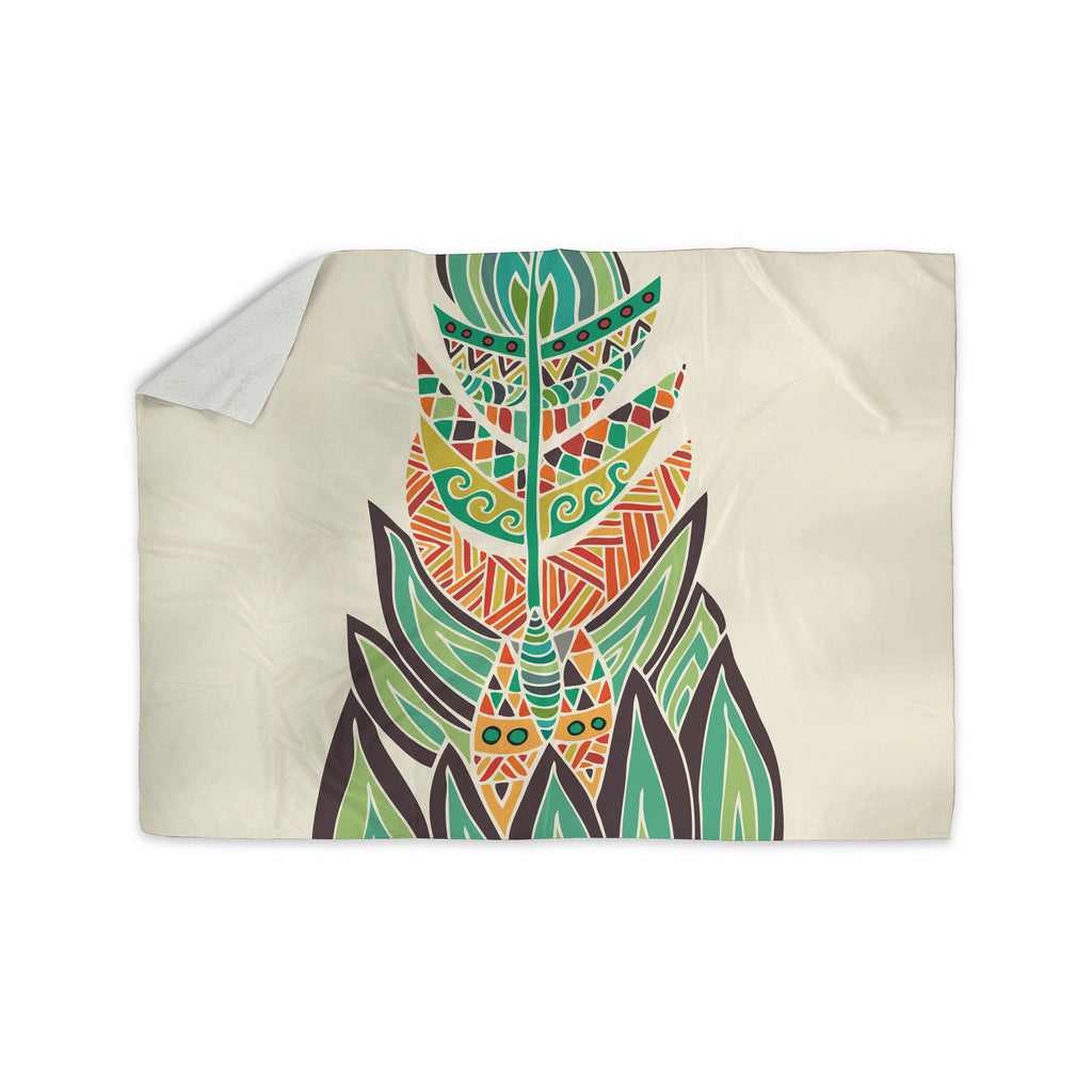 "Pom Graphic Design ""Tribal Feather"" Green Orange Sherpa Blanket - KESS InHouse  - 1"