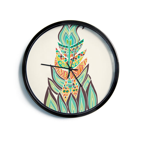 "Pom Graphic Design ""Tribal Feather"" Green Orange Modern Wall Clock"
