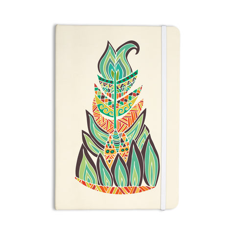 "Pom Graphic Design ""Tribal Feather"" Green Orange Everything Notebook - KESS InHouse  - 1"