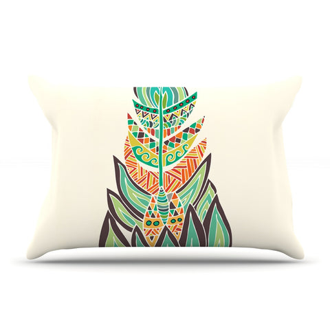 "Pom Graphic Design ""Tribal Feather"" Green Orange Pillow Sham - KESS InHouse"