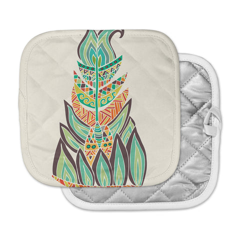 "Pom Graphic Design ""Tribal Feather"" Green Orange Pot Holder"