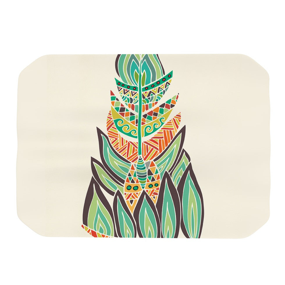 "Pom Graphic Design ""Tribal Feather"" Green Orange Place Mat - KESS InHouse"