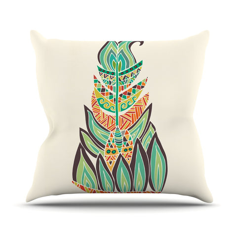 "Pom Graphic Design ""Tribal Feather"" Green Orange Outdoor Throw Pillow - KESS InHouse  - 1"