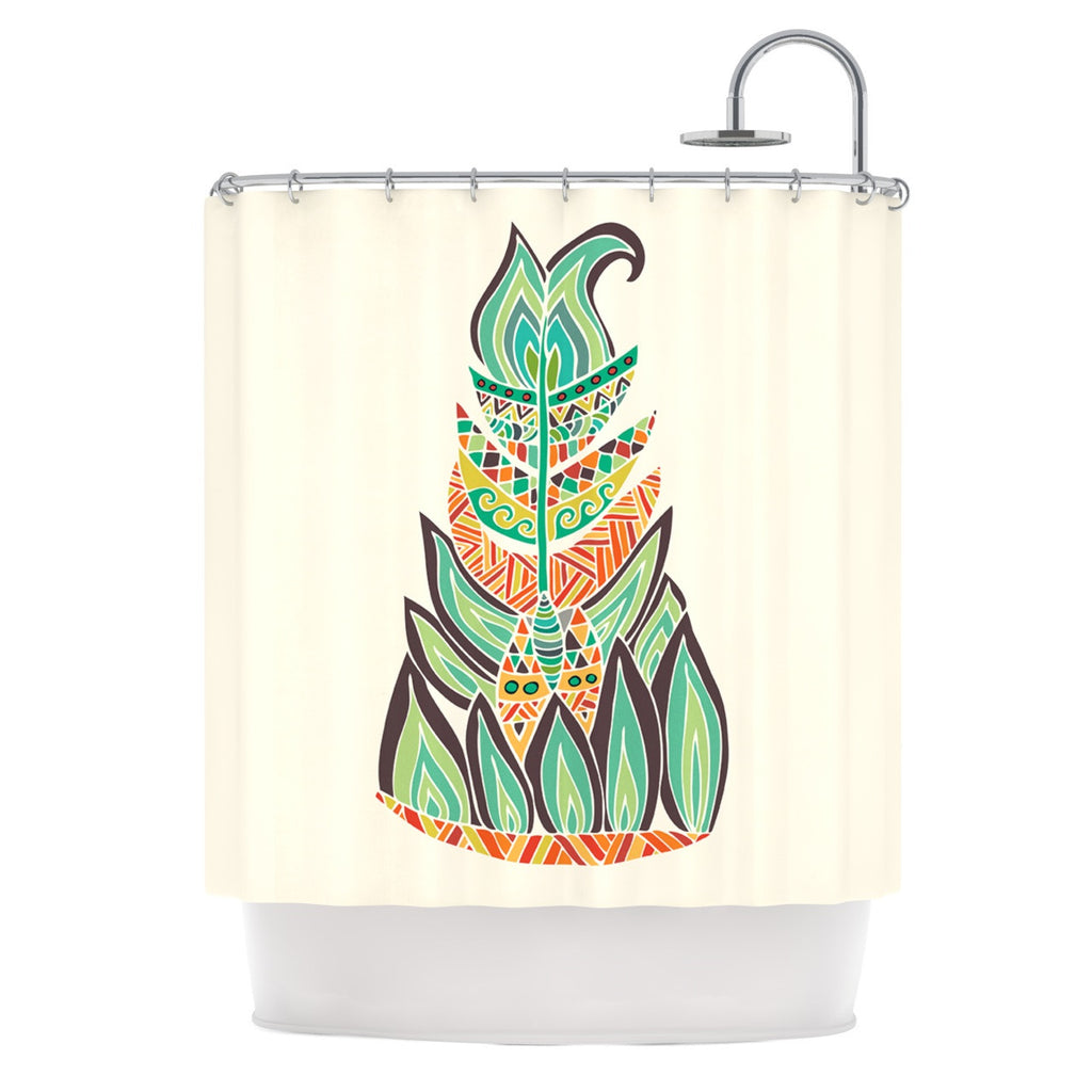 "Pom Graphic Design ""Tribal Feather"" Green Orange Shower Curtain - KESS InHouse"