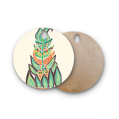 "Pom Graphic Design ""Tribal Feather"" Green Orange Round Wooden Cutting Board"