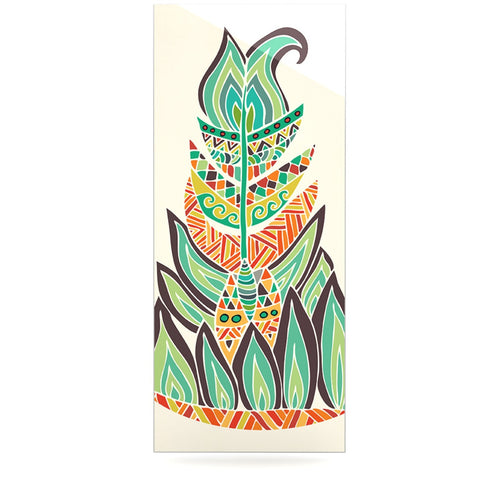 "Pom Graphic Design ""Tribal Feather"" Green Orange Luxe Rectangle Panel - KESS InHouse  - 1"