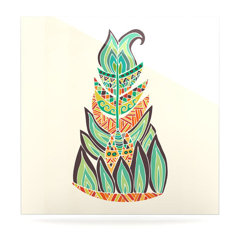 "Pom Graphic Design ""Tribal Feather"" Green Orange Luxe Square Panel - KESS InHouse  - 1"