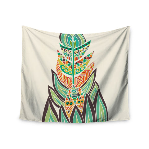 "Pom Graphic Design ""Tribal Feather"" Green Orange Wall Tapestry - KESS InHouse  - 1"