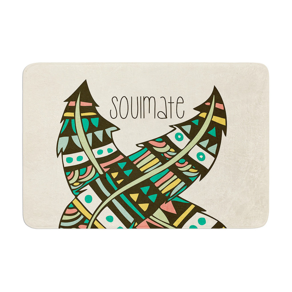 "Pom Graphic Design ""Soulmate Feathers"" Tan Green Memory Foam Bath Mat - KESS InHouse"