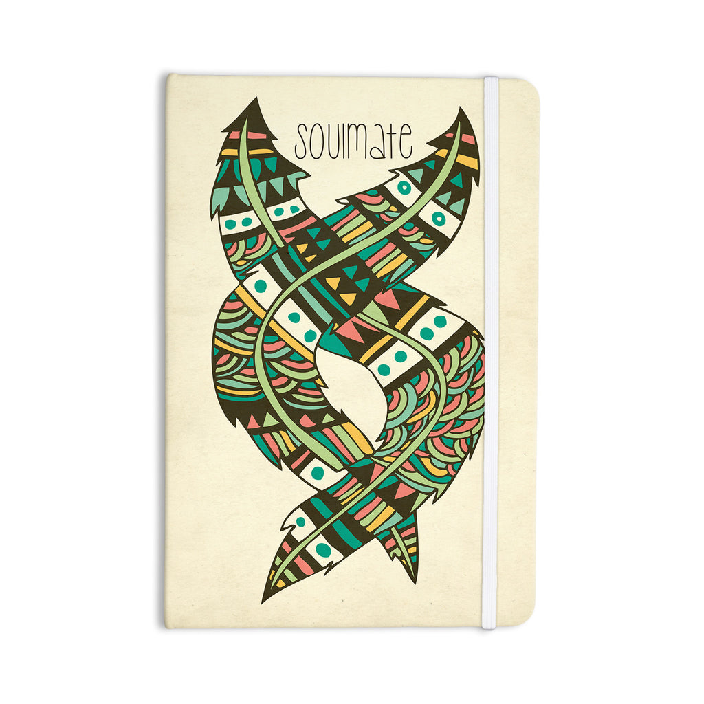 "Pom Graphic Design ""Soulmate Feathers"" Tan Green Everything Notebook - KESS InHouse  - 1"