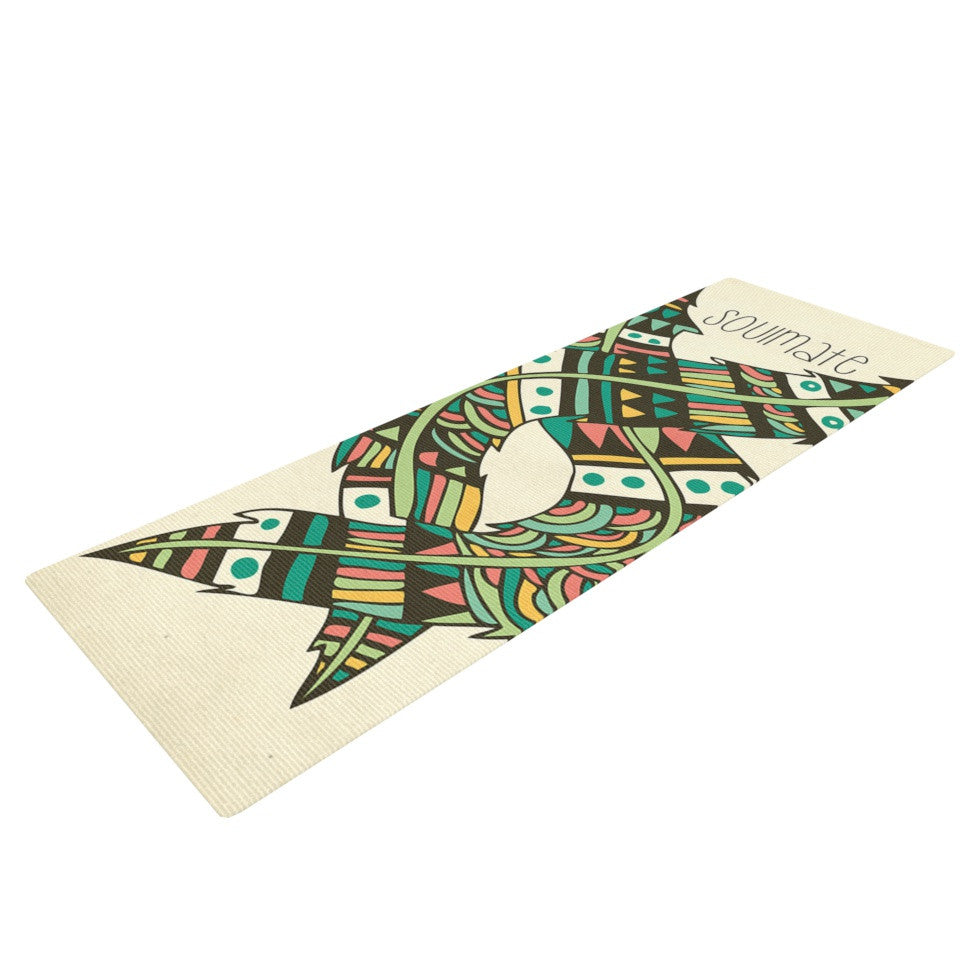 "Pom Graphic Design ""Soulmate Feathers"" Tan Green Yoga Mat - KESS InHouse  - 1"