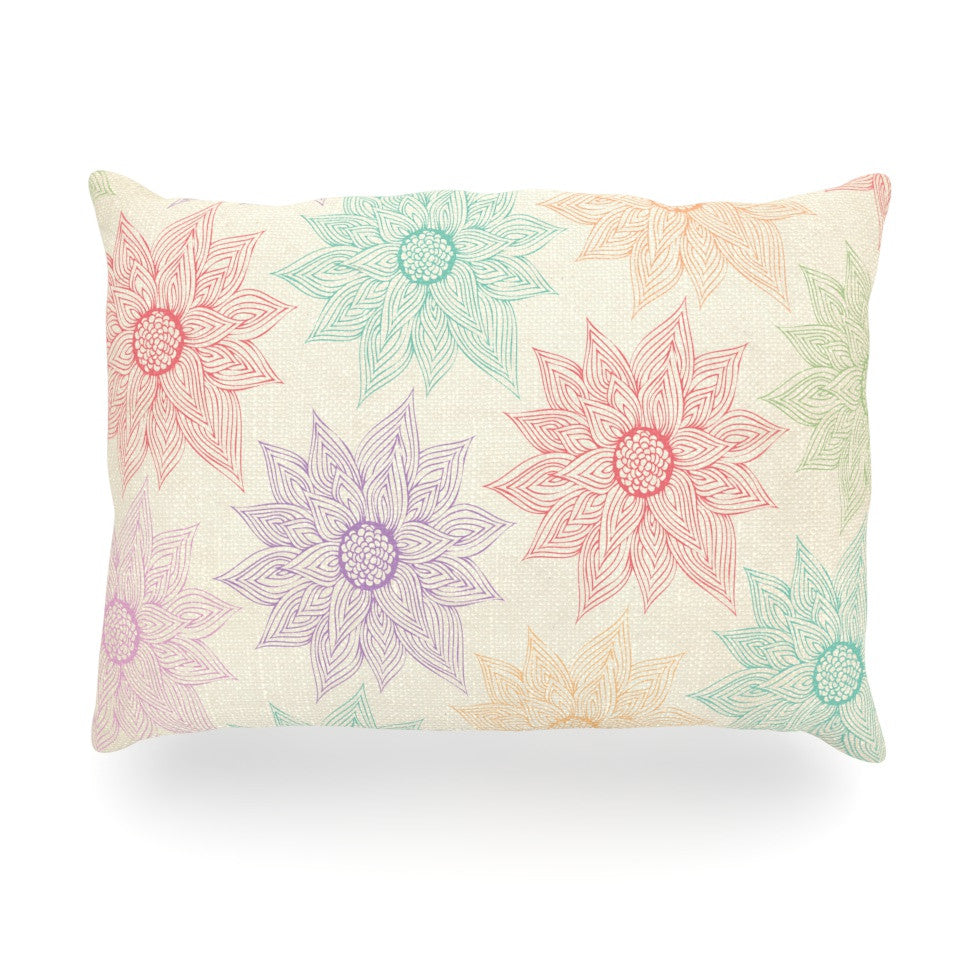 "Pom Graphic Design ""Spring Florals"" Rainbow Tan Oblong Pillow - KESS InHouse"
