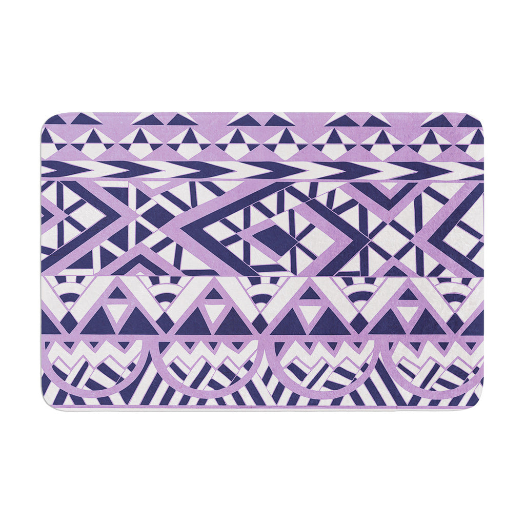 "Pom Graphic Design ""Tribal Simplicity II"" Purple White Memory Foam Bath Mat - KESS InHouse"