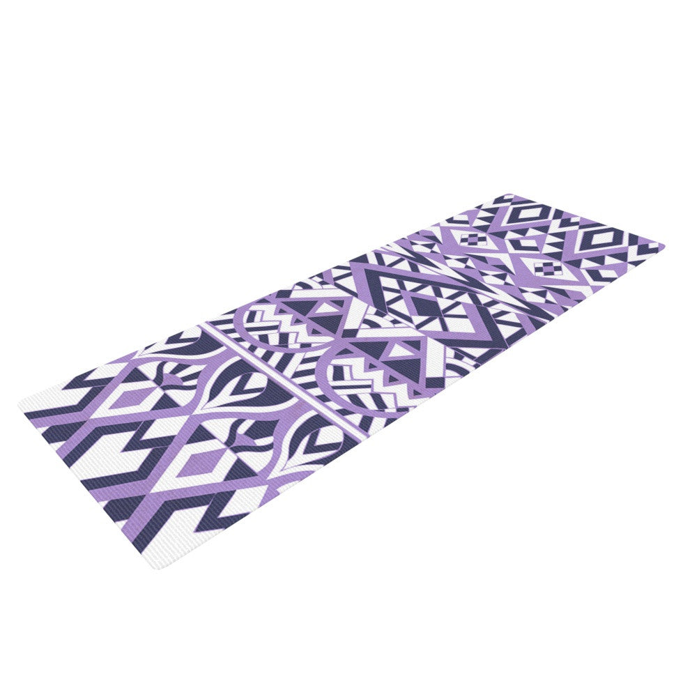 "Pom Graphic Design ""Tribal Simplicity II"" Purple White Yoga Mat - KESS InHouse  - 1"