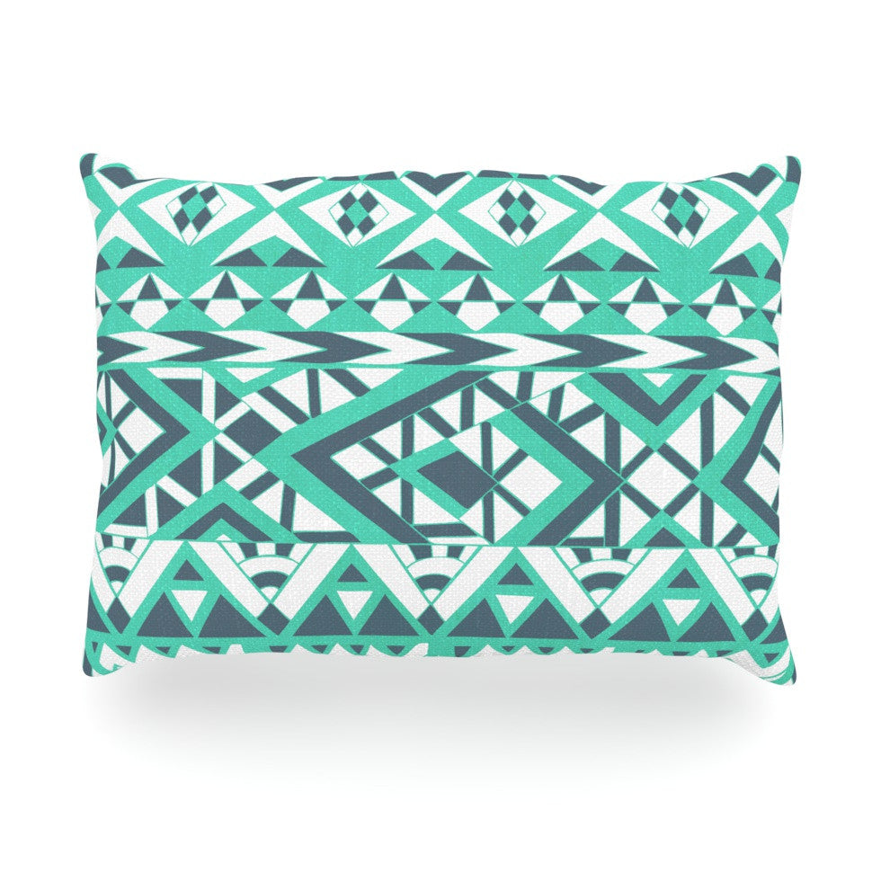 "Pom Graphic Design ""Tribal Simplicity"" Teal Oblong Pillow - KESS InHouse"