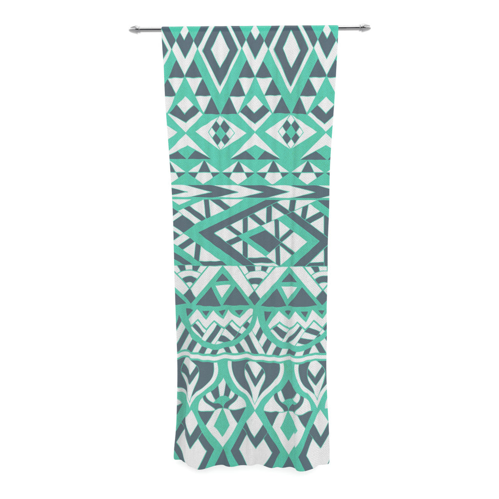 "Pom Graphic Design ""Tribal Simplicity"" Teal Decorative Sheer Curtain - KESS InHouse  - 1"
