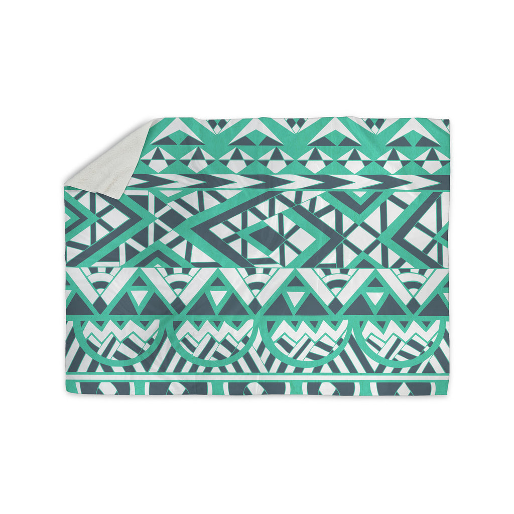 "Pom Graphic Design ""Tribal Simplicity"" Teal Sherpa Blanket - KESS InHouse"