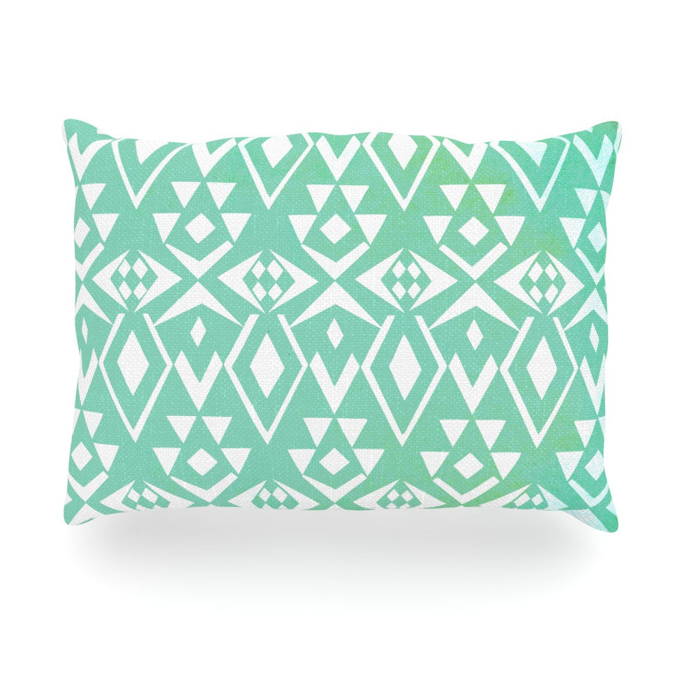 "Pom Graphic Design ""Ancient Tribe"" Seafoam Oblong Pillow - KESS InHouse"