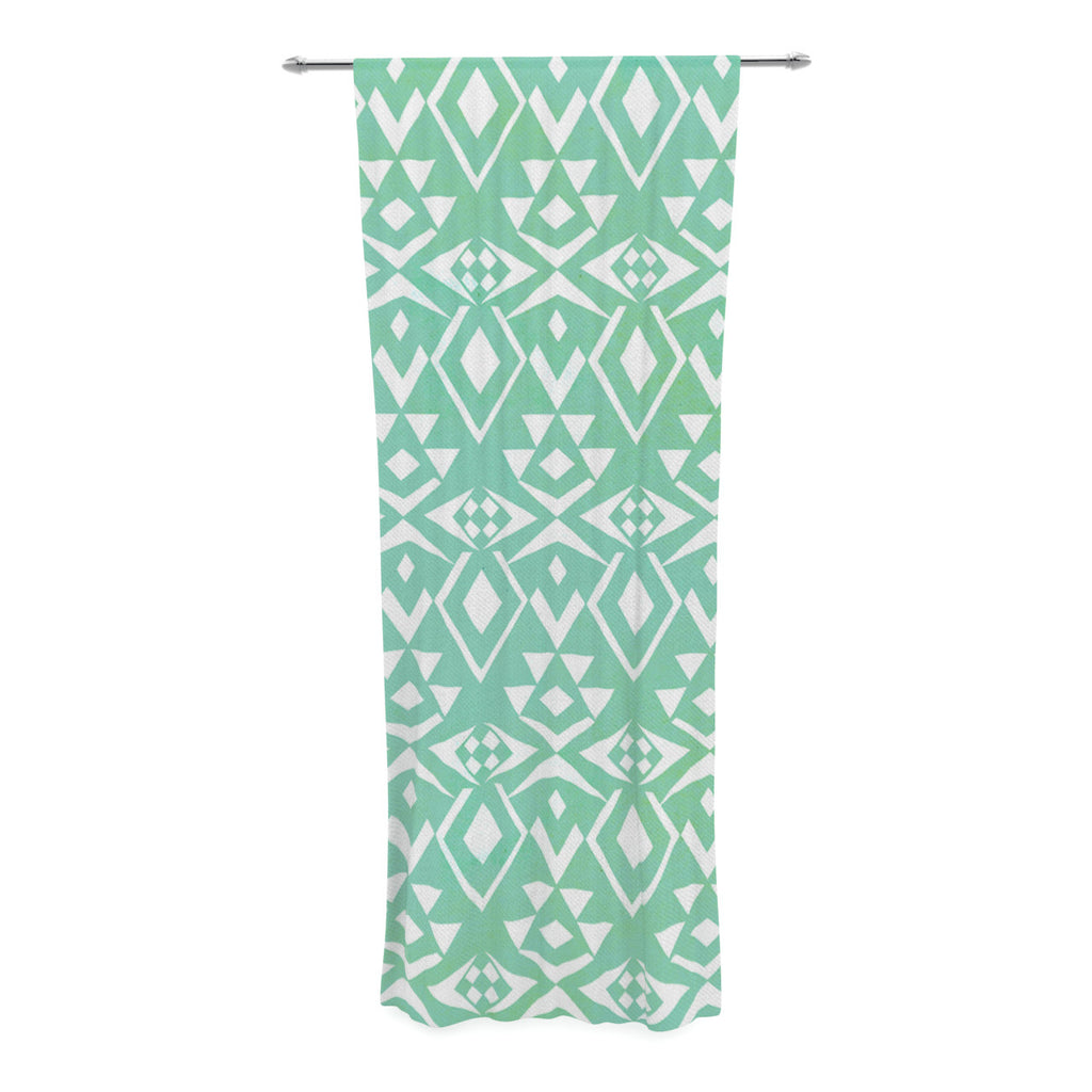 "Pom Graphic Design ""Ancient Tribe"" Seafoam Decorative Sheer Curtain - KESS InHouse  - 1"