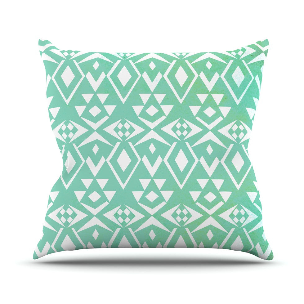 "Pom Graphic Design ""Ancient Tribe"" Seafoam Throw Pillow - KESS InHouse  - 1"