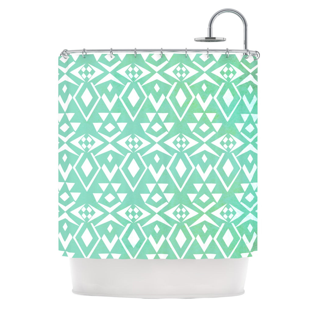 "Pom Graphic Design ""Ancient Tribe"" Seafoam Shower Curtain - KESS InHouse"