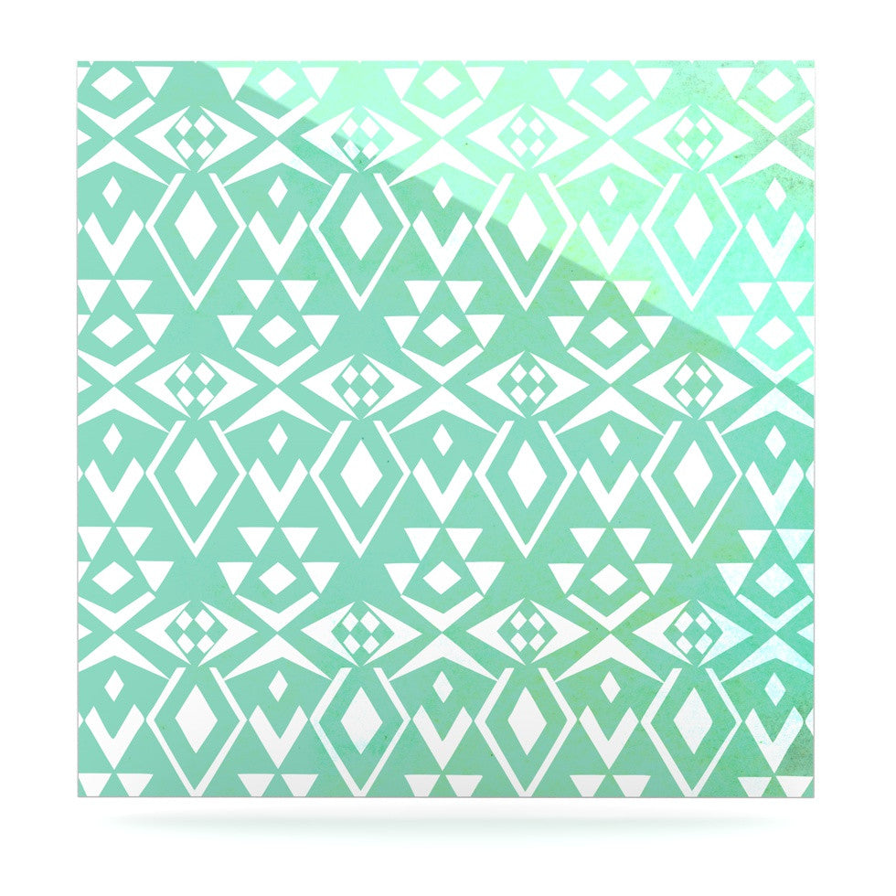 "Pom Graphic Design ""Ancient Tribe"" Seafoam Luxe Square Panel - KESS InHouse  - 1"